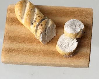 "Dollhouse Miniature 1"" Scale Bread on Cutting Board (ITZ)"