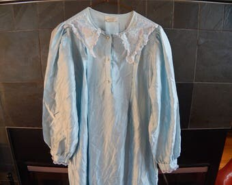 Vintage Satin Dressing-gown, I believe it is satin, pleated, faux pearl buttons