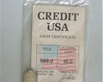 Single Heavy (10) Gram Ingot Charm Pendant-Vintage Fine 999 Silver-Credit USA Mint BOF Bullion-In Original Package-Collectible Bar Jewelry