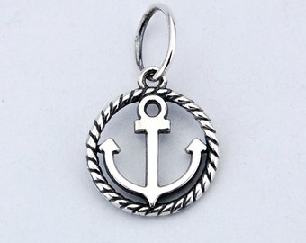 Anchor 925 silver pendant. sea sailor travel water ship