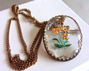Reversed Carved Glass Flower Intaglio Pendant Necklace, Brass Setting Chain, Vintage
