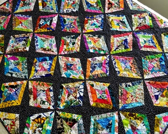 Modern lap quilt, sofa quilt, quilted sofa throw, asymmetrical patchwork quilt, contemporary colorful quilt, scrappy quilt, quiltsy handmade