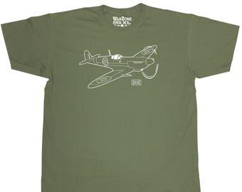 Supermarine Spitfire Fighter Aircraft WarZone T Shirt RAF World War II 2 Plane