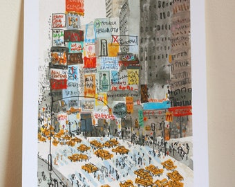 TIMES SQUARE NYC Art Print, New York Watercolor Painting, Manhattan Nyc Taxi, New York Wall Art, Signed Giclee Print, Urban Sketch Art