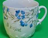 DMu2262 - Vintage Porcelain Made In Germany Floral Coffee Cup With Mustache Guard