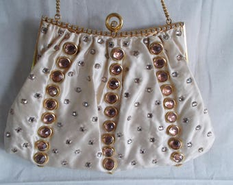 Vintage Delill Glass Rhinestone Small Purse