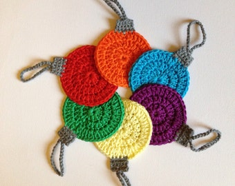 Christmas Tree Ornaments, Crochet Jewel Baubles, Set of 6
