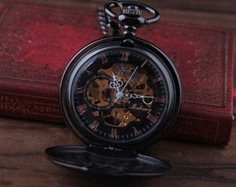 Personalized Quality Ice Black Mechanical Pocket Watch - Free Engraving