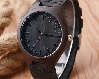 Black Bamboo Wood Watch with Genuine Black Leather-Free engraving