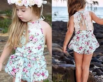 Floral Lace Back Romper - Vintage Romper - Summer Romper - Baby Girl Floral Romper - Lace Romper - Baby Photo Prop