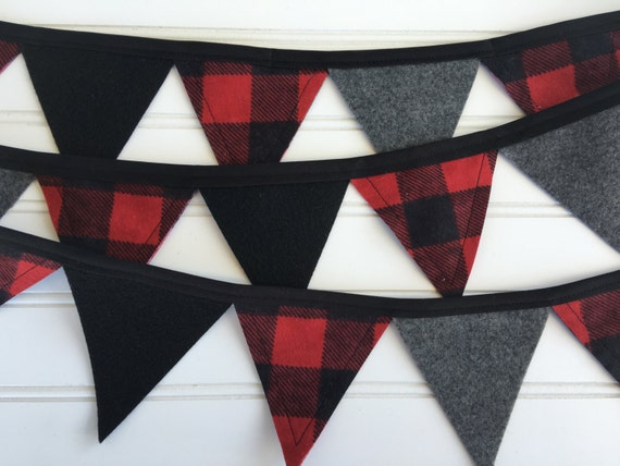 Made-To-Order Flannel and Felt Mini Bunting in Buffalo Plaid, Red, Black, and Charcoal Gray - Christmas, Holiday, Decor, Photography, Mantel