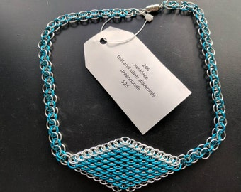 Teal and silver diamond Dragonscale necklace