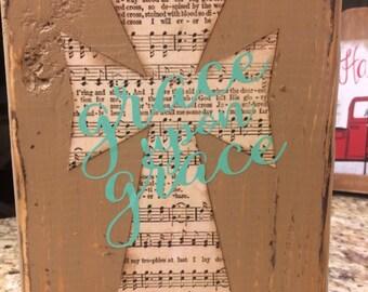 Distressed cross hymn sign