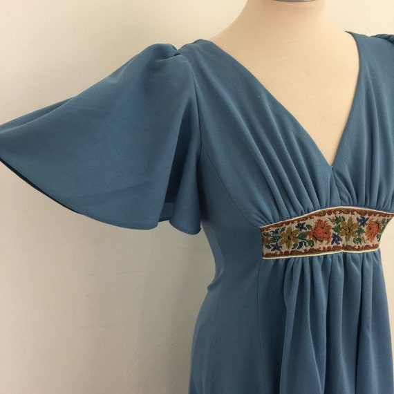 Maxi dress 1970s dress long low back pastel grey blue UK 8 hippy boho festival empire line embroidered rose detail cross stitch