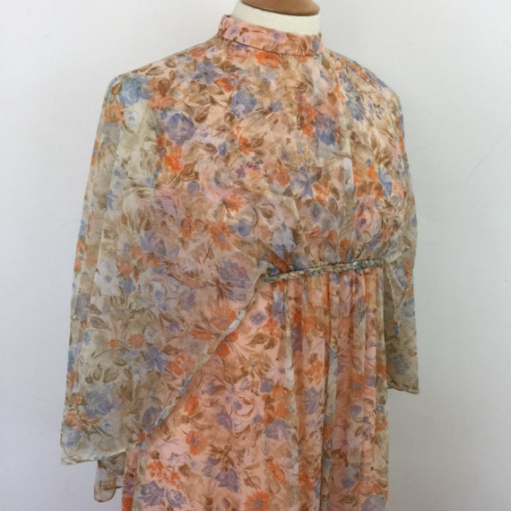 Vintage maxi dress cape sleeves orange flower chiffon sheer overlay 70s floaty festival disco costume long gown Abigails Party 1970s boho 14
