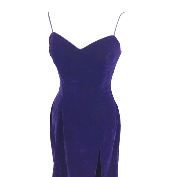 Vintage cocktail dress purple velvet hourglass figure burlesque pin up spaghetti strap bustier new years UK 8 cabaret glam 80s does 50s