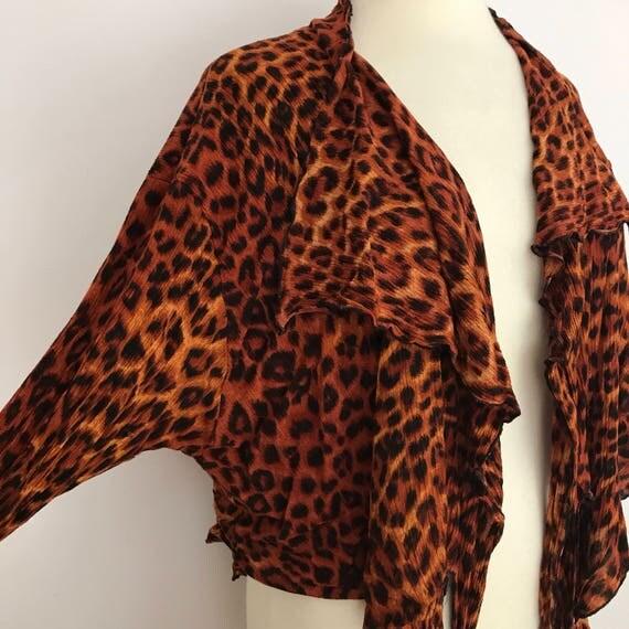Leopard print blouse cropped animal pattern top 1980s crinkle handkerchief hem boho UK 12 14 bolero overshirt
