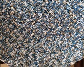 Baby blanket, Crochet, pattern, blue, white, brown, washable. FREEPOST UK
