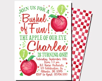 Apple Birthday Invitation | Apple Of Our Eye Invitation | Apple Picking Birthday | Apple Orchard Birthday | Fall Birthday Invitation