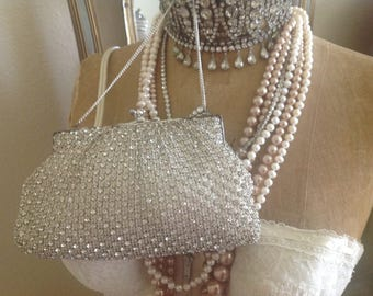 Beautiful vintage prong set rhinestone covered Austrian purse