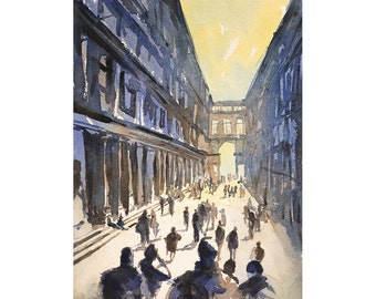 Watercolor painting of arcaded loggia of buildings in the medieval city of Bologna, Italy.  Watercolor painting fine art print Italy Bologna
