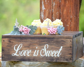 Love Is Sweet Cake Stand - Engraved Cake Stand - Rustic Wedding Cake Stand - Rustic Cupcake Stand - Wooden Cake Stand - Cake Crate
