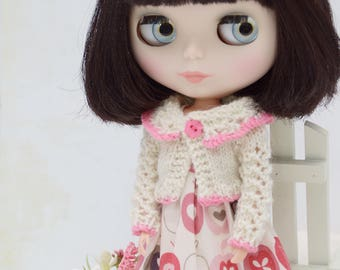Pretty cream and pink pure wool lacy knit cardigan for Blythe