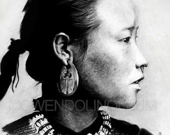 Nepalese Girl. Fine art print of an original drawing. Signed by the artist.