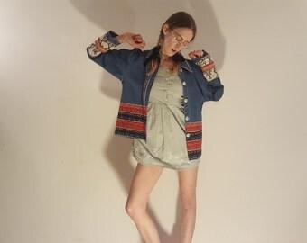 aztec embroidered denim jacket