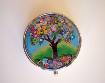 Pill box, Pill case, Pill container, Jewelry box, Mint case, Pills, Tree of life