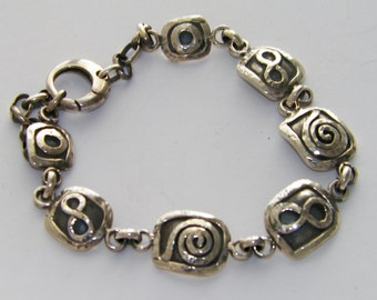 """Hand Made Hammered .925 Sterling Silver Oxidized Bracelet Infinity and Sun Symbol adjustable from 7 """" to 9 """""""