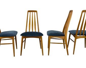 Niels Koefoed Teak Eva Chairs Mid Century Danish Modern