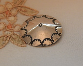 Stamped Indian Silver Button with Scalloped Design