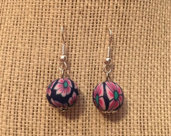 12mm DarkBlue&Pink Floral Clay Bead Earrings