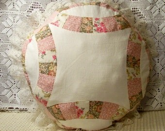 Hand Stitched Quilted Ring Pattern Pillow - Cecelia-Marie 243