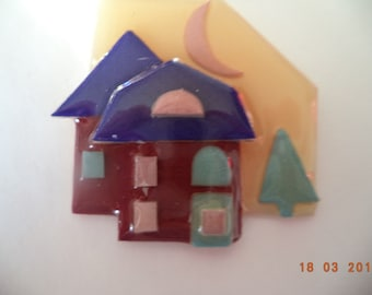 Fabulous Lucinda Fir Tree and Houses Brooch/Pin