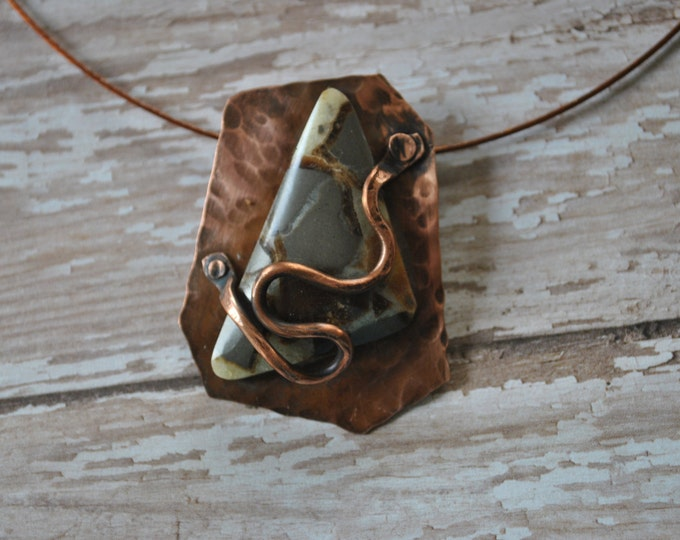 Utah Septarian Nodule stone and copper Pendant necklace, rustic, brown stone necklace, metal necklace
