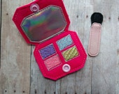 Play Makeup Eye Shadow Set, 2 Pieces, Embroidered Pink Felt and Vinyl, Snaps Closed, Pretend Compact, USA Made, Pretend Play