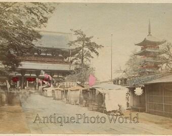 Japan shop market street view Asakusa temple antique hand tinted albumen photo