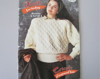 Patons Knits for Today Beehive Astra No. 617 Knit Sweater Patterns 1988