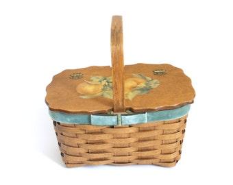 Vintage Basket Purse Decoupage Peach Wooden Basket // velvet lined picnic wood tote market bag