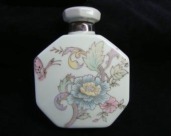 White Floral Design Perfume Cologne Bottle