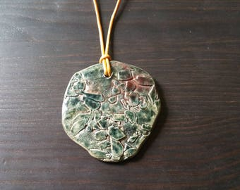 Green Copper 2 inch diameter Ceramic Raku Pendant Necklace on Gold Leather 1.5mm 22 inches with Raku Bead Loop Clasp