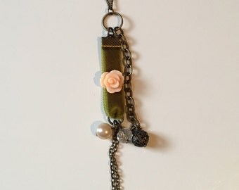 Eclectic Velvet and Rose Charm Necklace
