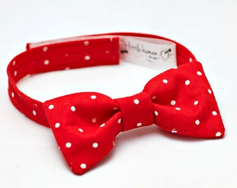 Red Polka Dot Bow Tie - Baby Boy Bow Tie, Polka Dot Bow Tie Baby, Bow Tie Boys, Boys Christmas Bow Tie, Christmas Bowtie Baby