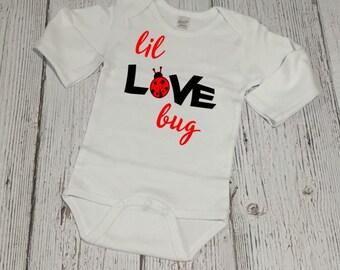 Valentines Day Bodysuit - Baby Valentine - Valentines Day Outfit - Baby Girl Valentine - Valentine Outfit - Lil LOVE Bug