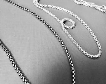 Oxidized Argentium® Silver 2.6mm Round Box Chain, THE FINEST SILVER -on the Market ~ Comes  w/lobster clasp,  Choose your desired length.