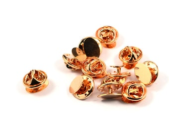 50 Pcs. Rose Gold 10 mm Tie Tack Blanks Findings