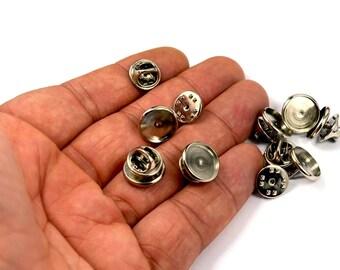 100 Pcs. Silver Tone 12 mm Bezel Setting Tie Tack Blanks Findings