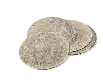 50 Pcs. Antique Silver 52 mm Round 1 Hole Disc Findings
